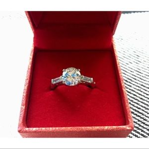 NORDSTROM Round Solitaire & Baguettes SS Ring